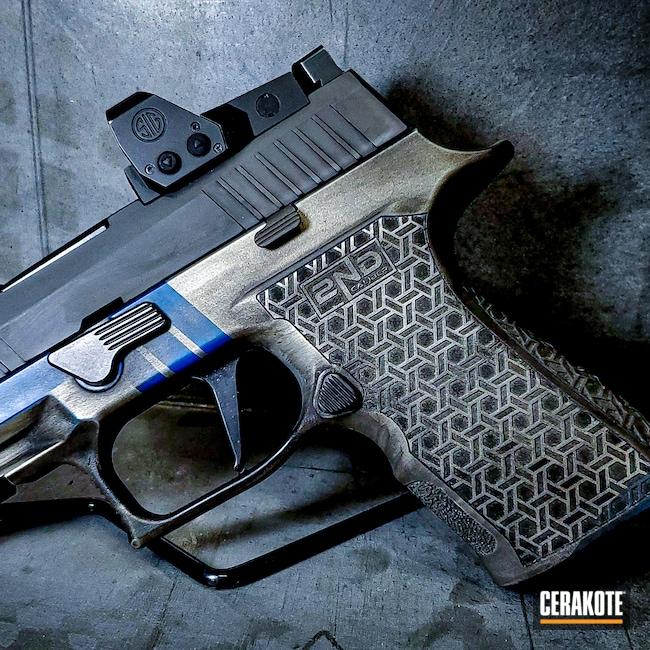 Cerakoted: S.H.O.T,9mm,Sig Sauer P320,Sig P320,Shimmer Aluminum H-158,Graphite Black H-146,Ridgeway Blue H-220,Sig Sauer,P320X