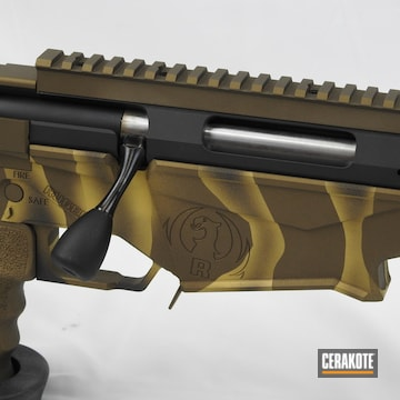 Ruger Precision Bolt Action Cerakoted Using Armor Black, Burnt Bronze And Gold