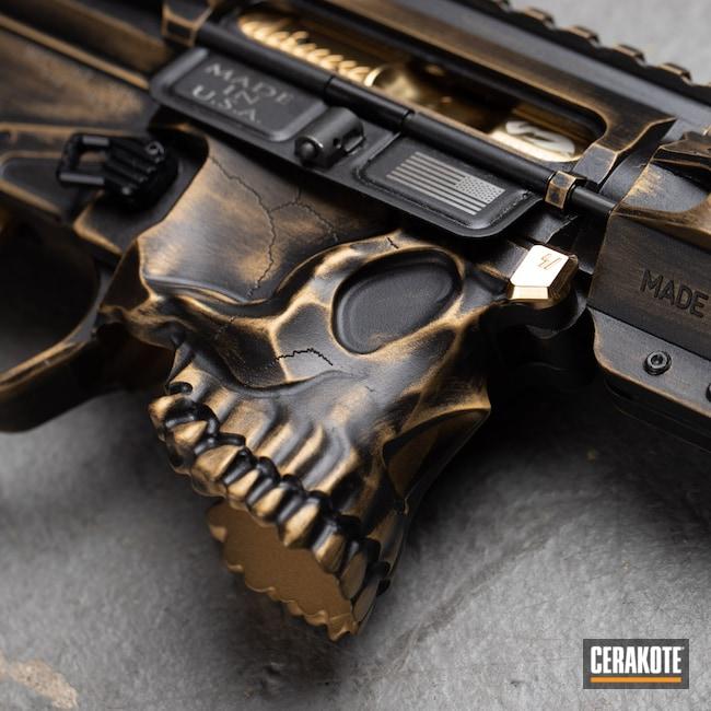 Cerakoted: S.H.O.T,Skull,black flag armory,Armor Black H-190,Sharpbros,Southern Oregon,Carbine,Medford,Gold H-122,AR-15