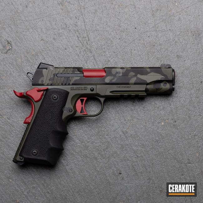 Cerakoted: S.H.O.T,Armor Black H-190,Pistol,Sig Sauer,MultiCam Black,Medford,9mm,Mil Spec O.D. Green H-240,RUBY RED H-306,Oregon,black flag armory,Southern Oregon,1911,MAGPUL® FOLIAGE GREEN H-231