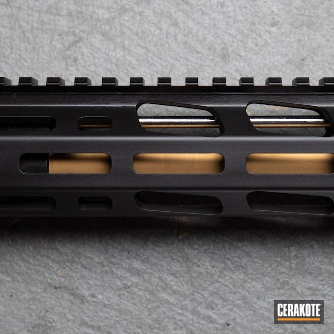 Cerakoted: S.H.O.T,Rifle,Ruger,Oregon,black flag armory,Armor Black H-190,Ruger AR556,Southern Oregon,5.56,Medford,Gold H-122,AR-15