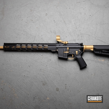 Custom Ar Build Cerakoted Using Armor Black And Gold