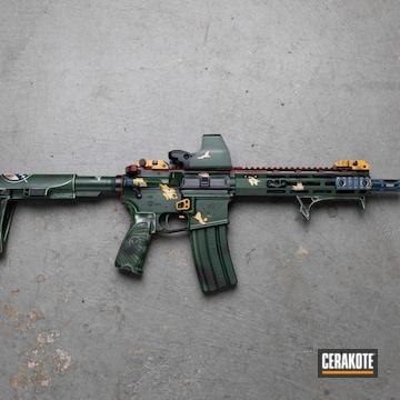 Boba Fett Themed Ar Build Cerakoted Using Crimson, Armor Black And Jesse James Eastern Front Green