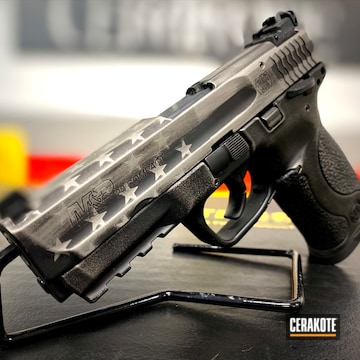 Distressed United States Themed Smith & Wesson M&p Pistol Cerakoted Using Graphite Black