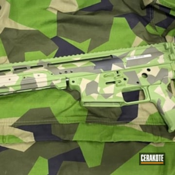 Splinter Camo Ar Cerakoted Using Armor Black, Magpul® O.d. Green And Magpul® Flat Dark Earth