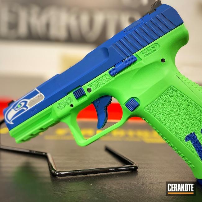 Cerakoted: S.H.O.T,9mm,Canik,Seattle Seahawks,PARAKEET GREEN H-331
