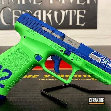 Seattle Seahawks Themed Canik Pistol Cerakoted Using Parakeet Green