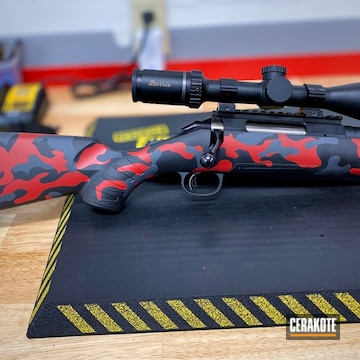 Custom Camo Ruger Bolt Action Rifle Cerakoted Using Graphite Black