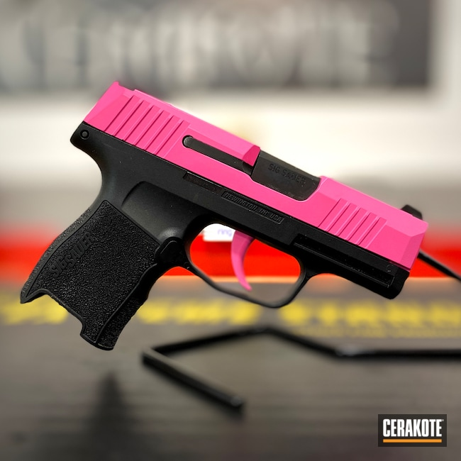 Cerakoted: S.H.O.T,9mm,Baby Yoda,This Is The Way,p365,Pistol,Sig Sauer,Prison Pink H-141,Laser Engrave