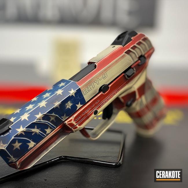Cerakoted: Custom Mix,9mm,Ruger,NRA Blue H-171,Distressed American Flag,USMC Red H-167,Crimson H-221,American Flag,Ruger Security 9