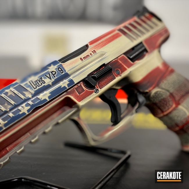 Cerakoted: S.H.O.T,Custom Mix,VP9,Graphite Black H-146,Distressed American Flag,HKVP9,Crimson H-221,Pistol,American Flag