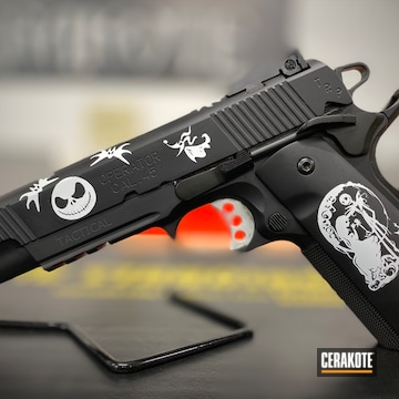 Nightmare Before Christmas Themed Springfield Armory 1911 Cerakoted Using Armor Black And Stormtrooper White