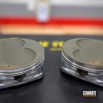 Je Pistons Cerakoted Using Piston Coat (oven Cure)