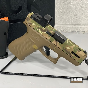Multicam Glock 43x Cerakoted Using Desert Sand, Multicam® Pale Green And Benelli® Sand