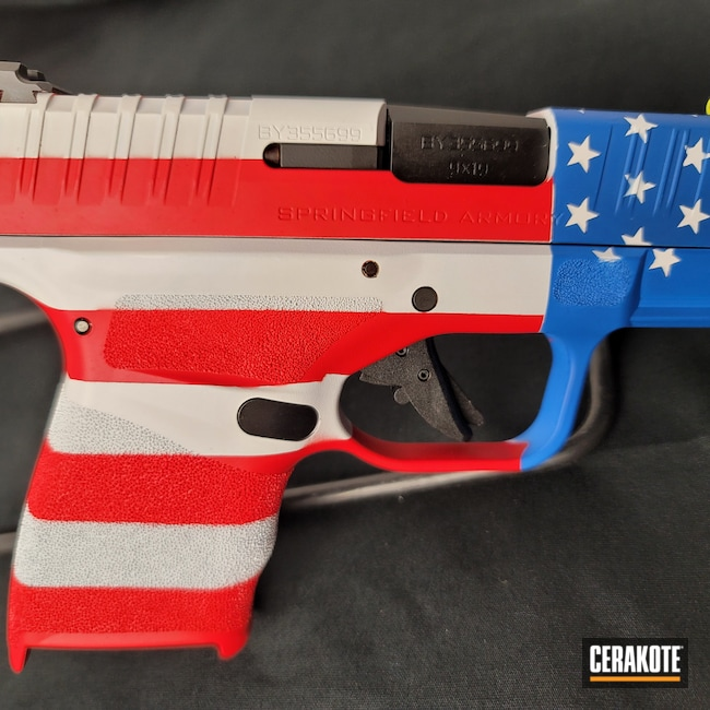Cerakoted: Bright White H-140,S.H.O.T,9mm,NRA Blue H-171,USMC Red H-167,Pistol,Springfield Armory,Hellcat