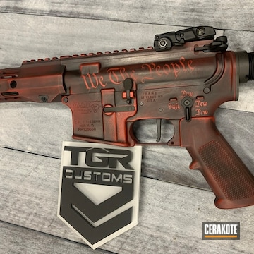 Battleworn Themed Ar Cerakoted Using Graphite Black And Firehouse Red