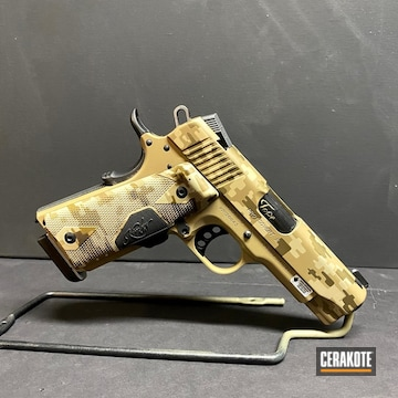 Custom Camo Kimber 1911 Pistol Cerakoted Using Desert Sand, Glock® Fde And Burnt Bronze