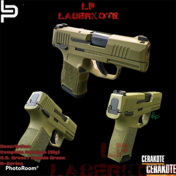 Sig Sauer P365 Cerakoted Using Zombie Green And O.d. Green