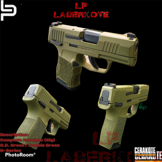 Cerakoted: S.H.O.T,Custom Mix,Sig P365,Micro Compact,H-Series,Zombie Green H-168,Firearm,Sig Sauer,Sig,O.D. Green H-236,Handgun