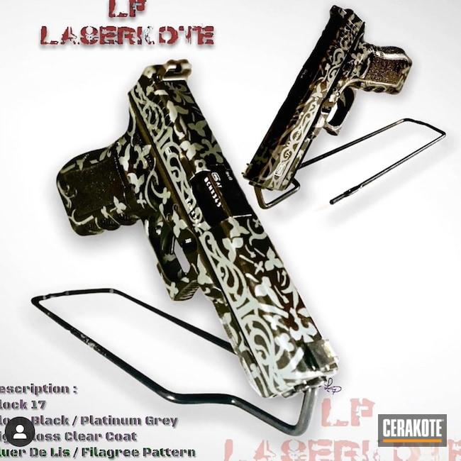 Cerakoted: S.H.O.T,Gloss Black H-109,H-Series,Glock,Glock 17,PLATINUM GREY H-337,Firearms,Handguns,G17,Glock 17 Gen 3,HIGH GLOSS CERAMIC CLEAR MC-156,Handgun