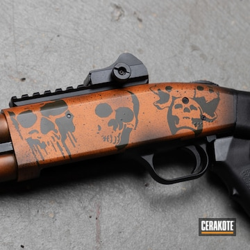 Skull Themed Mossberg Shotgun Cerakoted Using Armor Black, Tequila Sunrise And Magpul® O.d. Green