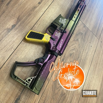 The Joker Themed Ar Cerakoted Using Wild Purple, Parakeet Green And Corvette Yellow