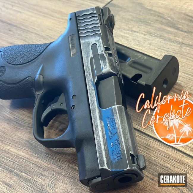 Cerakoted: S.H.O.T,Blue Line,Graphite Black H-146,Distressed Flag,Tungsten H-237,Thin Blue Line Flag,Christopher Miller,M&P Shield,california cerakote