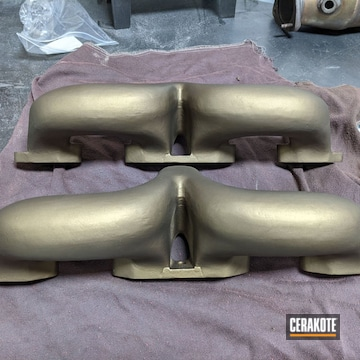 Set Of Ford Y-block Ram Horn Manifolds Cerakoted Using Burnt Bronze