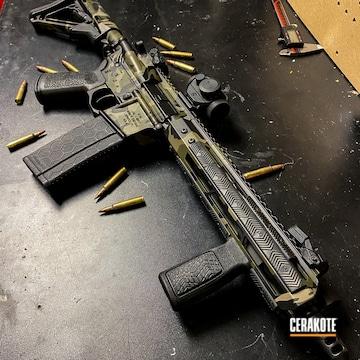 Multicam Ar Cerakoted Using Troy® Coyote Tan, Armor Black And Multicam® Dark Green