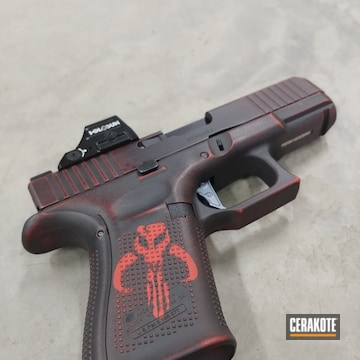 Battleworn Mandalorian Themed Pistol Cerakoted Using Usmc Red And Graphite Black