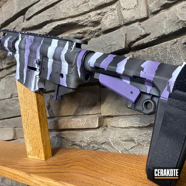 Cerakoted: S.H.O.T,AR Pistol,Multi cal,Graphite Black H-146,AR,Bright Purple H-217,Anderson,BATTLESHIP GREY H-213