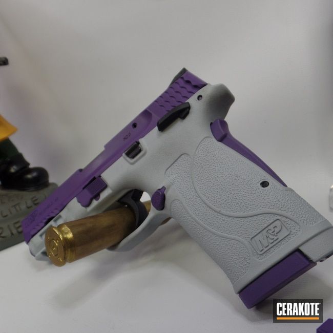 Cerakoted: S.H.O.T,Custom,Bright Purple H-217,Smith & Wesson,.380,Bull Shark Grey H-214,Pawprints