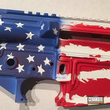 United States Flag Themed Ar Lower And Upper Cerakoted Using Usmc Red, Bright White And Nra Blue