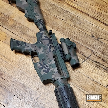 Woodland Camo Ar Build Cerakoted Using Highland Green, Chocolate Brown And Graphite Black