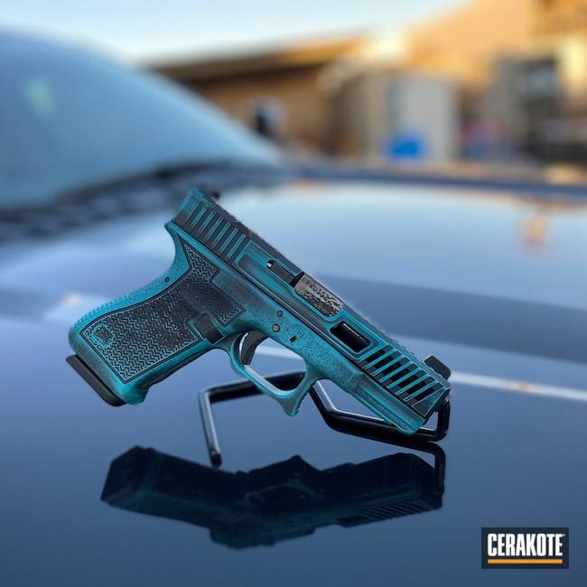 Cerakoted: S.H.O.T,Glock 19,Gucci Glock,AZTEC TEAL H-349,Graphite Black H-146,Glock