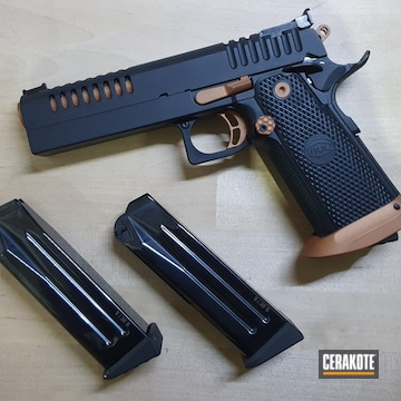 Bul Armory 1911 Pistol Cerakoted Using Graphite Black And Copper