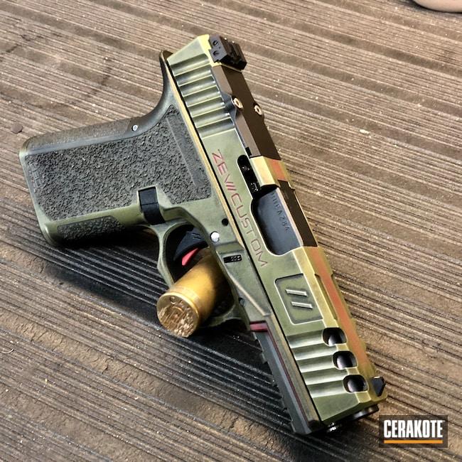 Cerakoted: S.H.O.T,9mm,Spartan,Zev Glock,Graphite Black H-146,Crimson H-221,Noveske Bazooka Green H-189,Slide,P80,80%,Zev,Quake