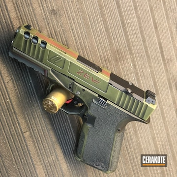 Custom Glock Pistol Cerakoted Using Crimson, Noveske Bazooka Green And Graphite Black