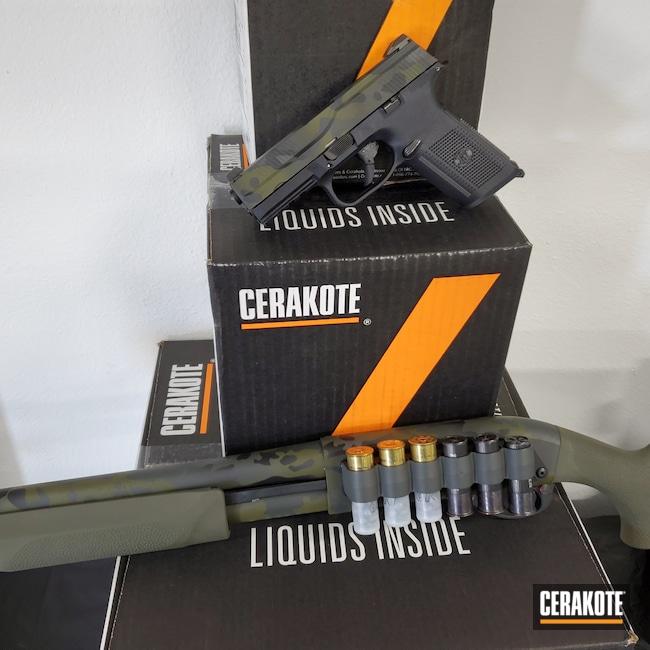 Cerakoted: S.H.O.T,FNS-9,Sniper Green H-229,Graphite Black H-146,FNH,Remington 870,SIG™ DARK GREY H-210,MultiCam Black,Custom multi camo,Matching Set,Remington Shotgun