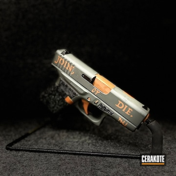 Custom Glock 43 Pistol Cerakoted Using Platinum Grey And Copper