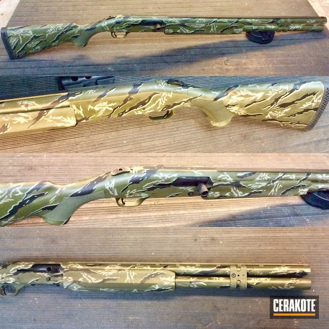 Cerakoted: S.H.O.T,Vietnam Tiger Stripe Camo,Tactical Shotgun,Graphite Black H-146,Desert Sand H-199,O.D. Green H-236,Mossberg,Mossberg 940 JM Pro