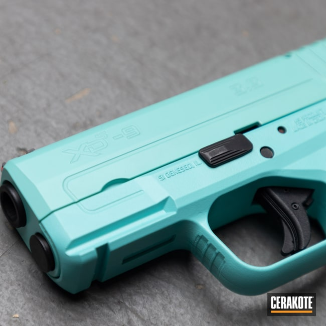 Cerakoted: S.H.O.T,9mm,Robin's Egg Blue H-175,Oregon,black flag armory,Springfield Armory,Southern Oregon,Medford,Handgun,XDS