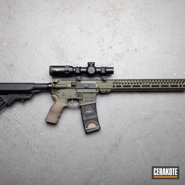 Cerakoted: S.H.O.T,Sniper Green H-229,MP15,Smith & Wesson,black flag armory,National Guard,US Army,5.56,Medford,AR15 Lower