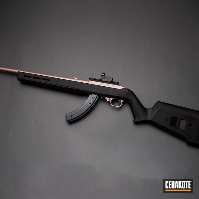 Cerakoted: S.H.O.T,Rifle,10/22,Ruger,Oregon,black flag armory,Southern Oregon,ROSE GOLD H-327,Medford,.22
