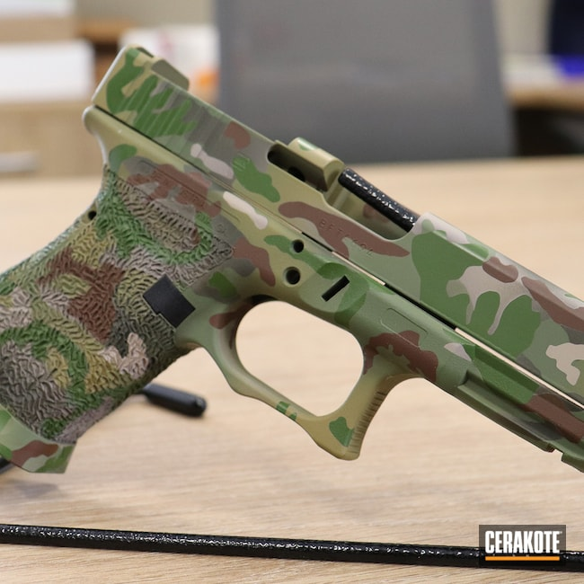 Cerakoted: S.H.O.T,MULTICAM® BRIGHT GREEN H-343,Glock 19,MultiCam,Mil Spec O.D. Green H-240,9mm Glock,MCMILLAN® TAN H-203,MULTICAM® OLIVE H-344,MULTICAM® DARK BROWN H-342,MULTICAM® DARK GREEN H-341
