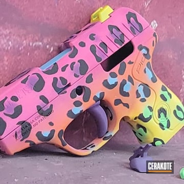 Leopard Print Themed Beretta Pico Cerakoted Using Blue Raspberry, Prison Pink And Zombie Green