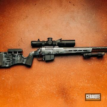 Custom Bolt Action Rifle Cerakoted Using Armor Black, Sniper Grey And Bull Shark Grey