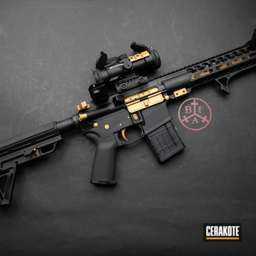 Anderson Manufacturing Ar Build Cerakoted Using Armor Black And Gold