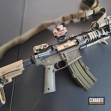 Ar's Cerakoted Using Burnt Bronze And Blue Titanium