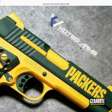 Green Bay Packers Themed Sig Sauer 1911 Cerakoted Using Armor Black